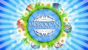 Moroccan Hammam logo on easter background